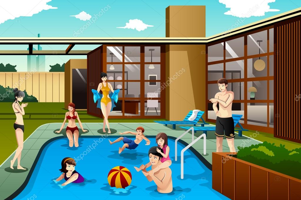 Family and friends spending time in the backyard swimming for Family swimming pool