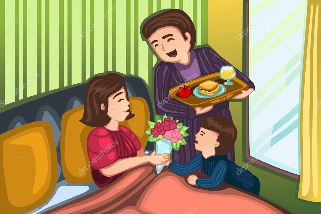 Mutter Tag Fruhstuck Im Bett Stockvektor C Artisticco 66849081