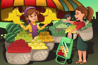 A vector illustration of fruit seller at the farmers market with a customer stock vector