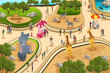 A vector illustration of scene in a zoo stock vector