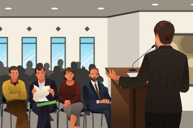 Businessman Speaking at a Podium