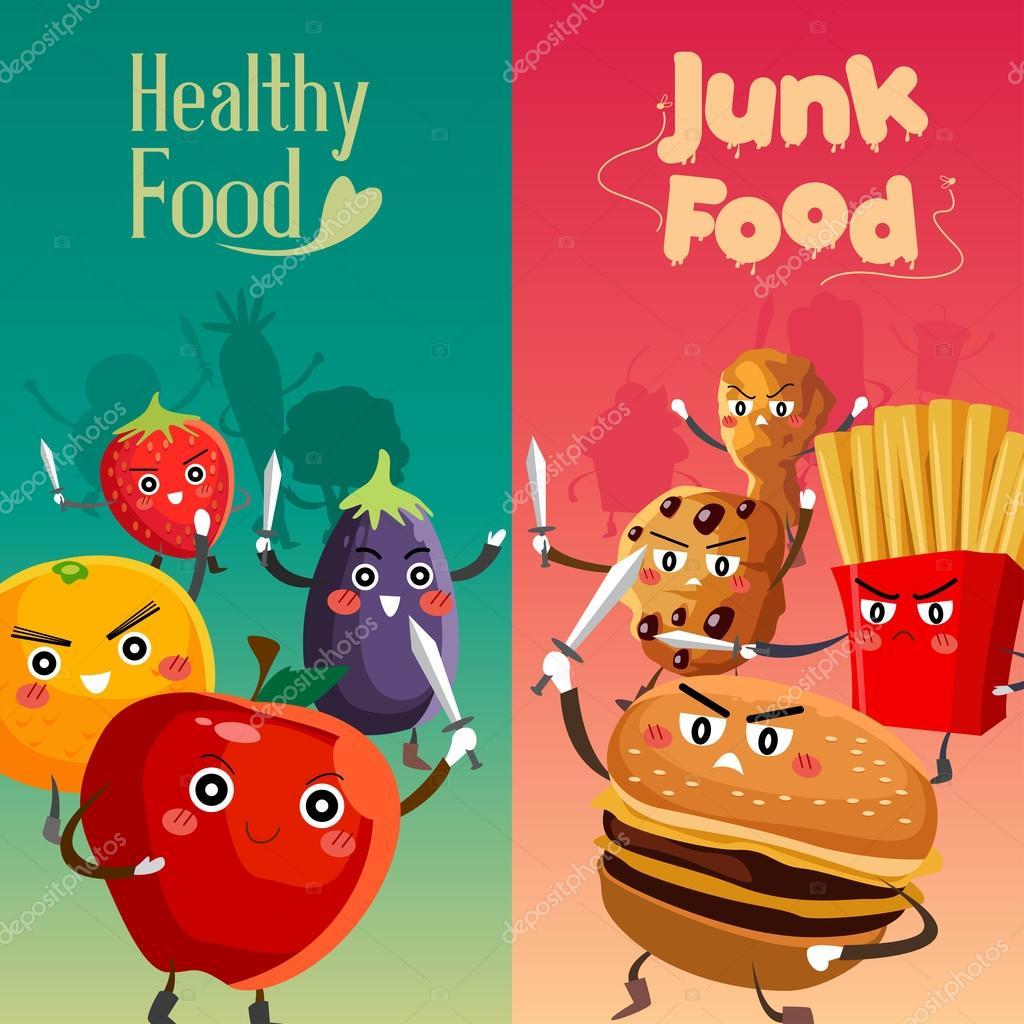 Healthy Food Versus Unhealthy Food — Stock Vector © artisticco #77797654