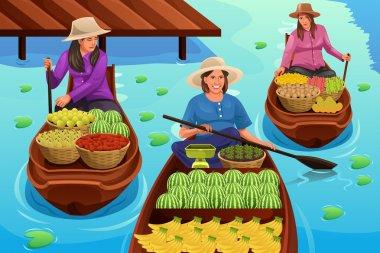 Woman Selling Fruit in a Floating Market