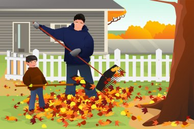 Father and Son Raking Leaves in the Yard During Fall Season