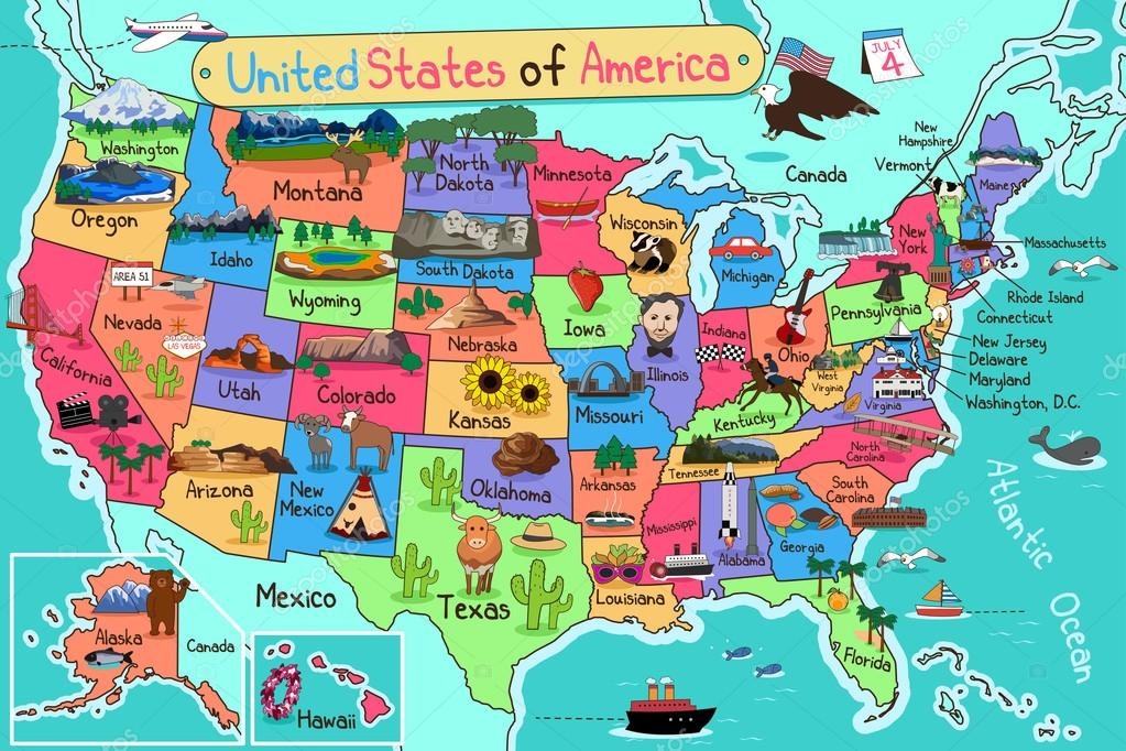 Karte Usa.Usa Karte Im Cartoon Stil Stockvektor C Artisticco 85008546