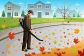 Ember tiszta fel levelek ősszel szezonban egy ventilátor segítségével