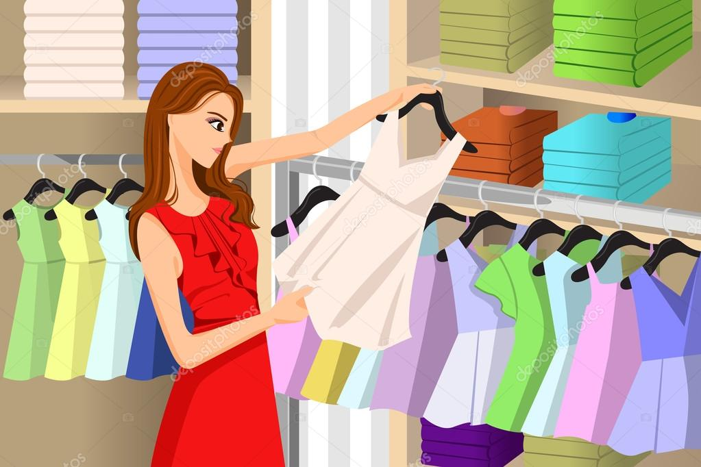 Girl Buying Clothes at a Store — Stock Vector © artisticco ...