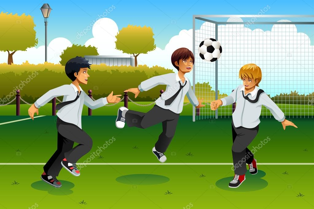 Estudiantes Jugando Futbol Archivo Imagenes Vectoriales