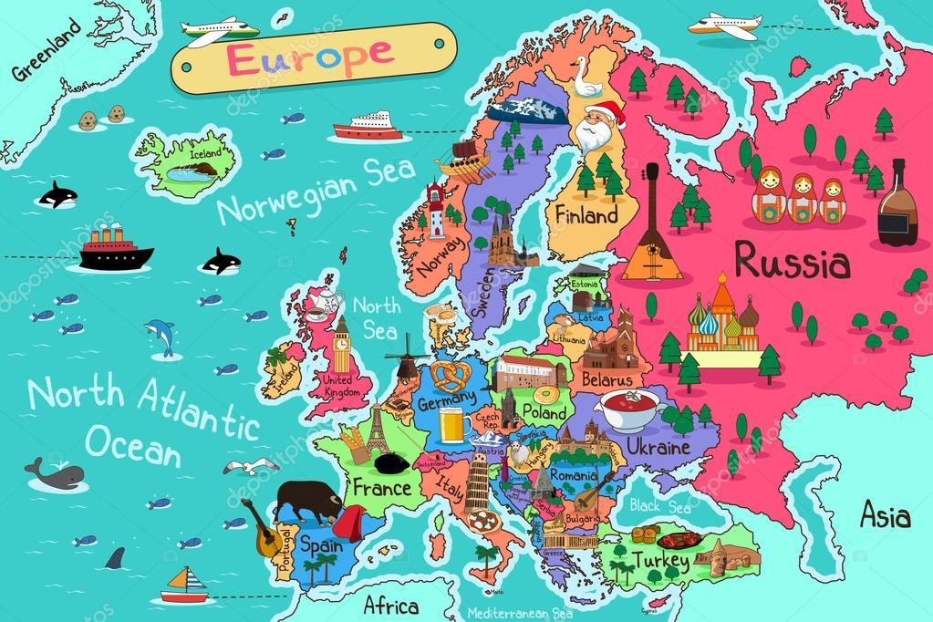 Cartoon Map Of Germany.Europe Cartoon Map Stock Vector C Artisticco 95396490