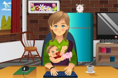 Mother Holding Her Baby While Working At Home