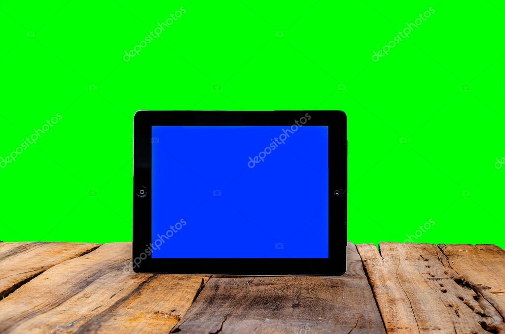Ipad with blue and green screen