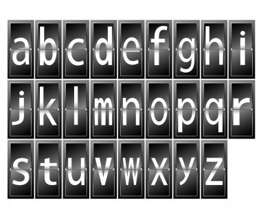 Alphabet letters on time table terminal vector illustration