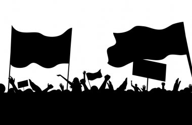 Protesters riots workers on strike crowd music concert vector illustration