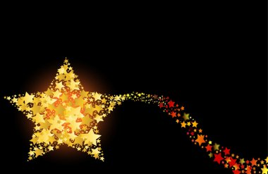 Blazing abstract comet shooting gold star vector illustration