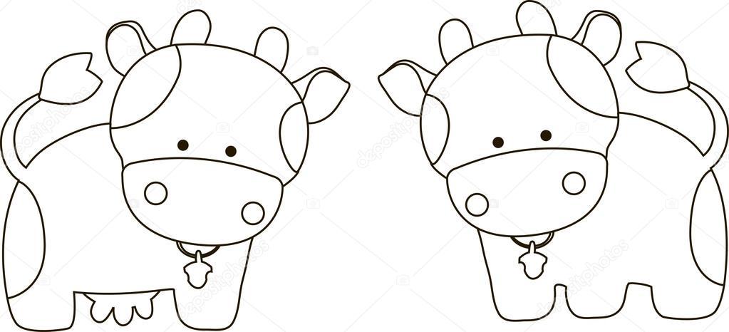 Manchas de vaca para colorear | Toro y vaca de dibujos animados ...