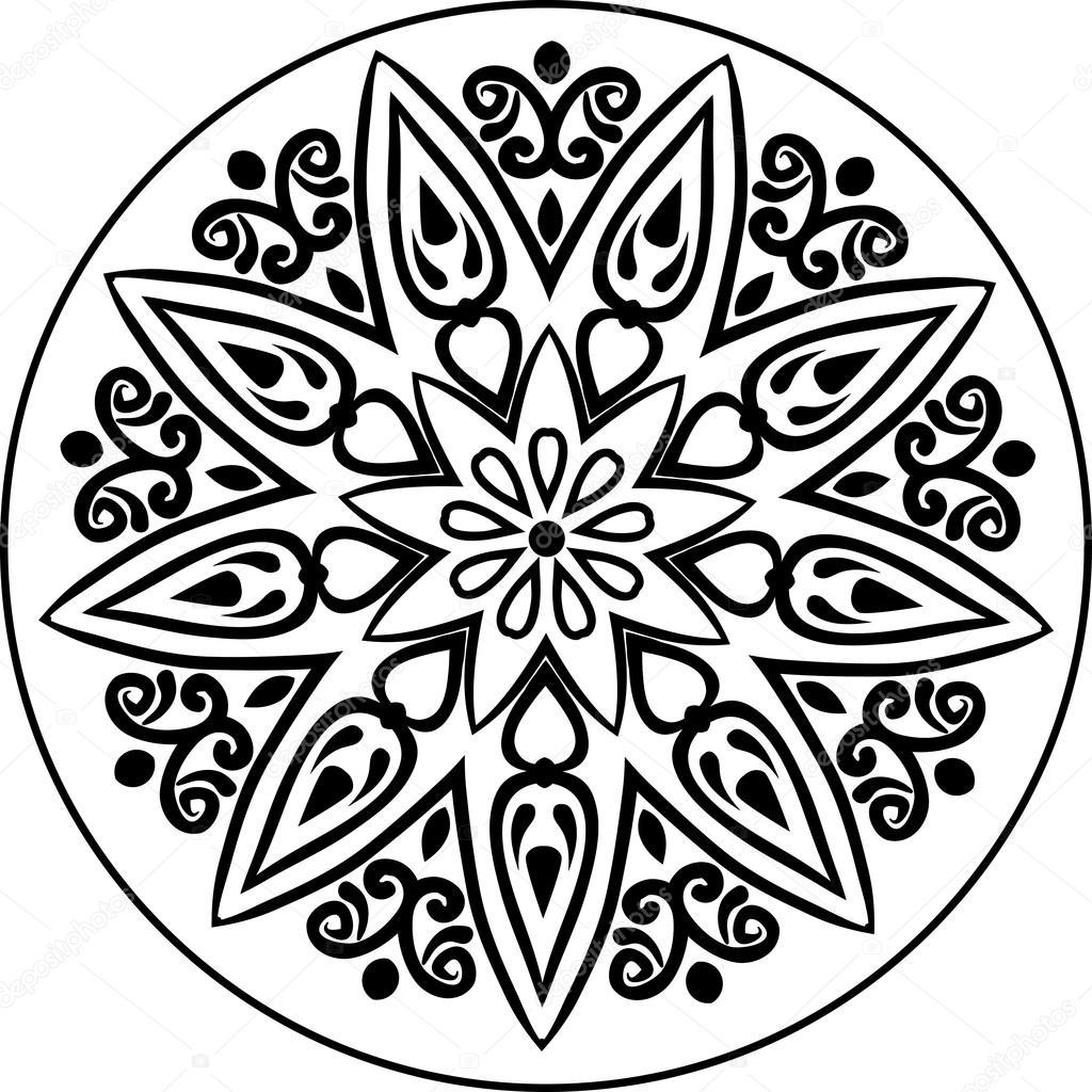 Jpg To Line Art Converter Free Download : Mandala hat sanatı — stok vektör amekamura