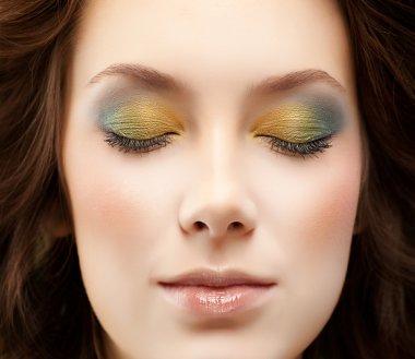 Closeup portrait of attractive  caucasian  woman  studio shot lips  face  closeup macro head makeup eyes closed stock vector