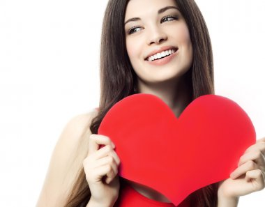 woman beauty with heart valentine's