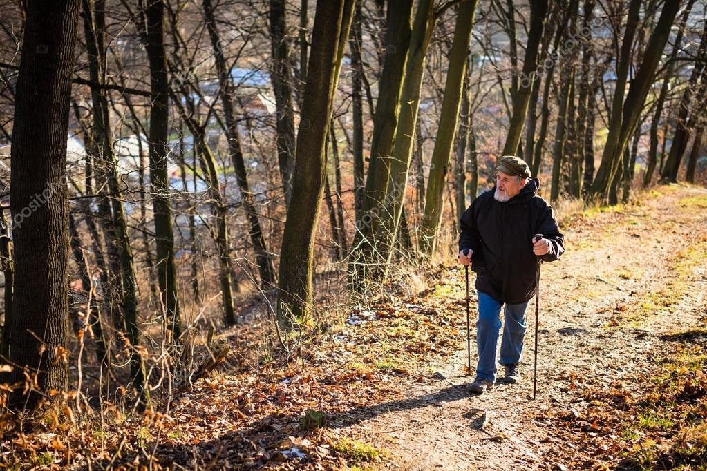 Senior man nordic walking, enjoying the outdoors, the fresh air,