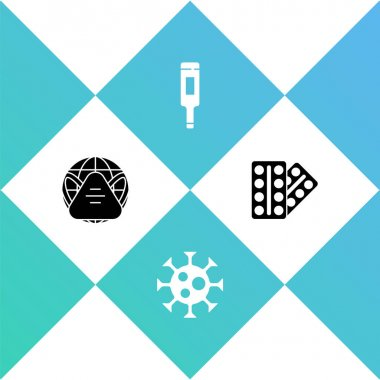 Set Earth with medical mask, Virus, Medical thermometer and Pills in blister pack icon. Vector. icon