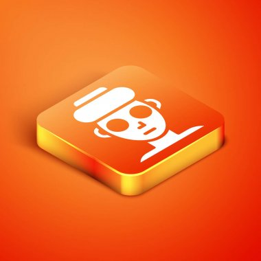 Isometric Facial cosmetic mask icon isolated on orange background. Cosmetology, medicine and health care.  Vector. icon