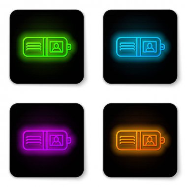 Glowing neon line Wallet icon isolated on white background. Purse icon. Cash savings symbol. Black square button. Vector Illustration.