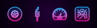 Set line Car brake disk, muffler, Speedometer and Gear shifter. Glowing neon icon. Vector.