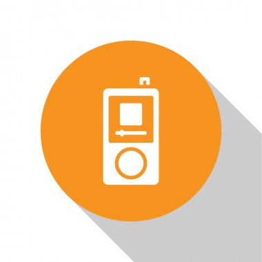 White Music player icon isolated on white background. Portable music device. Orange circle button. Vector.