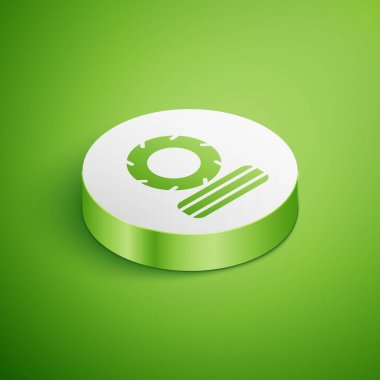 Isometric Lying burning tires icon isolated on green background. White circle button. Vector. icon
