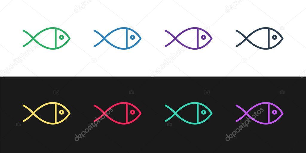 Set line Christian fish symbol icon isolated on black and white background. Jesus fish symbol.  Vector Illustration. icon