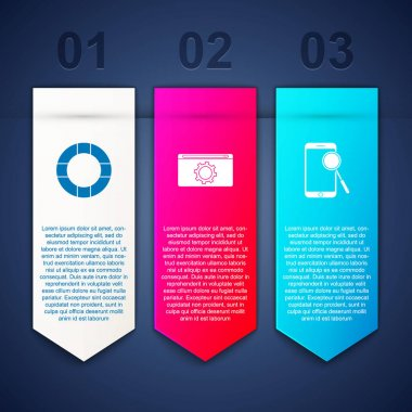 Set Lifebuoy, Setting and Mobile phone diagnostics. Business infographic template. Vector. icon