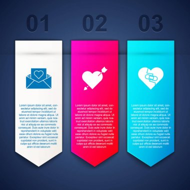 Set Envelope with Valentine heart, Amour and arrow and Healed broken. Business infographic template. Vector. icon