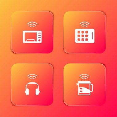 Set Smart microwave oven, Wireless tablet, headphones and electric kettle icon. Vector. icon