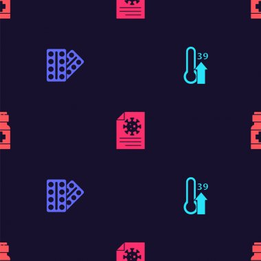 Set High human body temperature, Pills in blister pack, Clipboard with blood test results and Medicine bottle and pills on seamless pattern. Vector. icon