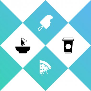 Set Nachos in plate, Slice of pizza, Ice cream and Coffee cup icon. Vector. icon