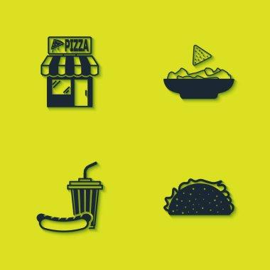 Set Pizzeria building facade, Taco with tortilla, Soda and hotdog and Nachos plate icon. Vector. icon