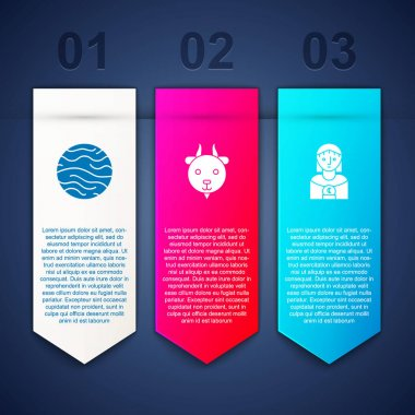 Set Planet Venus, Aries zodiac and Astrology woman. Business infographic template. Vector. icon