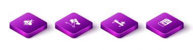 Set Isometric Bee, Scented spa stick, Massage table with oil and Medical book icon. Vector. icon