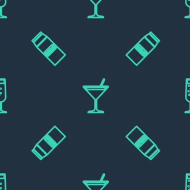 Set line Martini glass, Paper package for milk and Glass of champagne on seamless pattern. Vector. icon