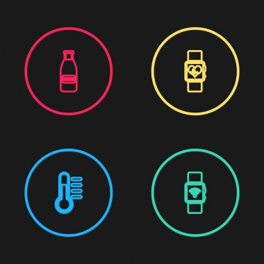 Set line Thermometer, Smartwatch with wireless, heart beat rate and Glass bottle milk and cap icon. Vector. icon