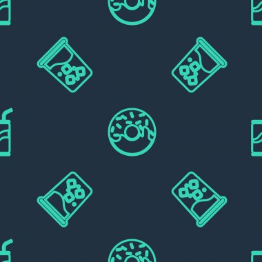 Set line Donut, Glass with water and Soda can drinking straw on seamless pattern. Vector. icon