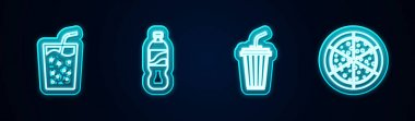 Set line Glass with water, Bottle of,  and Pizza. Glowing neon icon. Vector. icon
