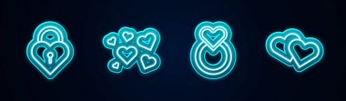 Set line Castle in the shape of heart, Heart, Wedding rings and . Glowing neon icon. Vector. icon