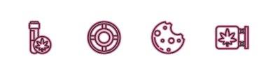Set line Chemical test tube with marijuana, Cookies, Ashtray and Marijuana and cannabis store icon. Vector. icon