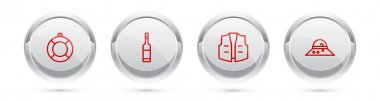 Set line Lifebuoy, Bottle of vodka, Fishing jacket and Fisherman hat. Silver circle button. Vector icon