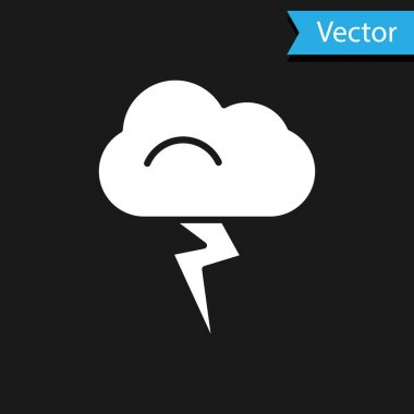 White Storm icon isolated on black background. Cloud and lightning sign. Weather icon of storm.  Vector Illustration. icon