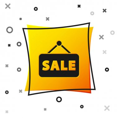 Black Hanging sign with text Sale icon isolated on white background. Signboard with text Sale. Yellow square button. Vector Illustration. icon