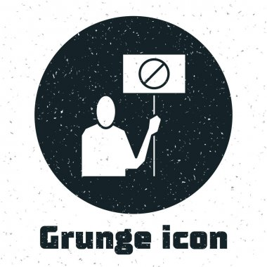 Grunge Nature saving protest icon isolated on white background. Earth planet protection, environmental issues demonstration. Monochrome vintage drawing. Vector Illustration. icon