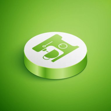 Isometric Electric mixer icon isolated on green background. Kitchen blender. White circle button. Vector Illustration. icon