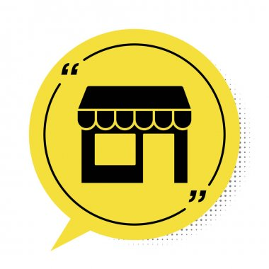 Black Shopping building or market store icon isolated on white background. Shop construction. Yellow speech bubble symbol. Vector. icon